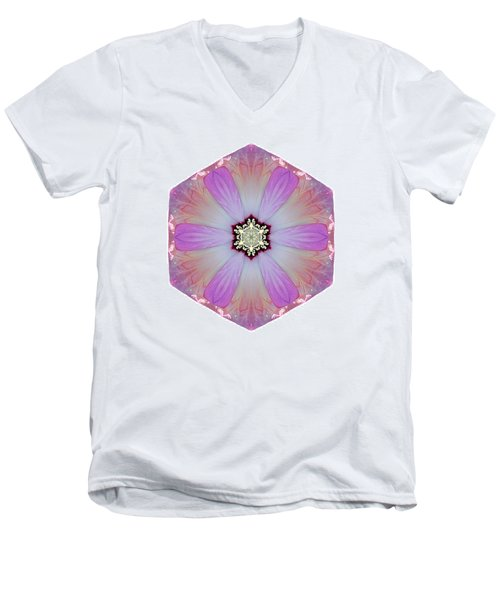 Pink And White Hibiscus Moscheutos I Flower Mandala White Men's V-Neck T-Shirt