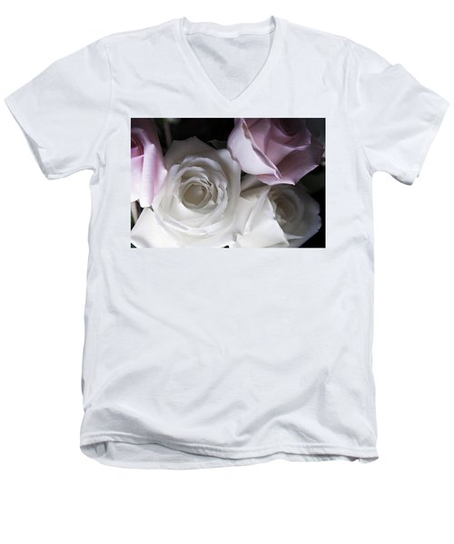 Pink And White Roses Men's V-Neck T-Shirt
