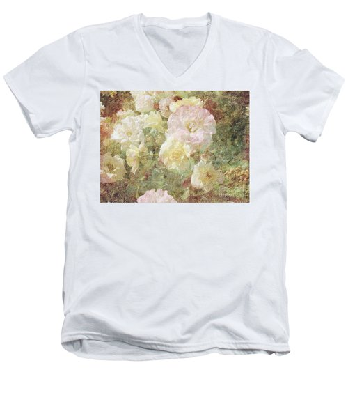 Pink And White Roses With Tapestry Look Men's V-Neck T-Shirt