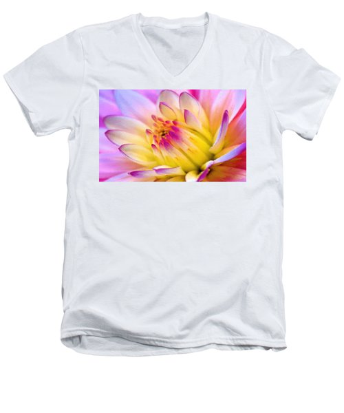 Pink And White Water Lily Men's V-Neck T-Shirt