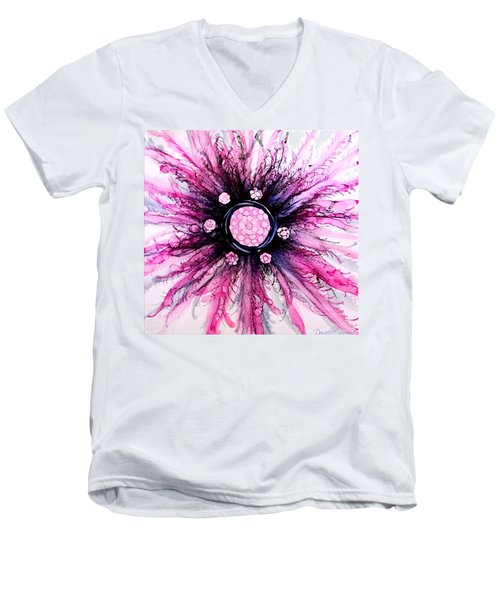 Pink Black Elegance Alcohol Inks Abstract Men's V-Neck T-Shirt