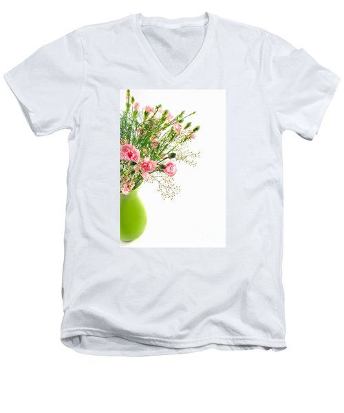Pink Carnation Flowers Men's V-Neck T-Shirt
