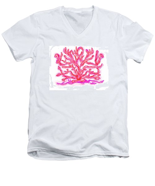 Men's V-Neck T-Shirt featuring the digital art Pink Coral by Christine Fournier