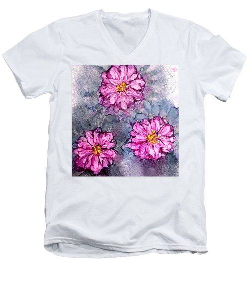 Pink Dahlia Blooms Alcohol Inks Men's V-Neck T-Shirt