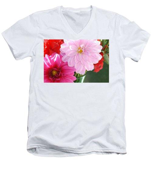Pink Dahlias In The Morning Men's V-Neck T-Shirt