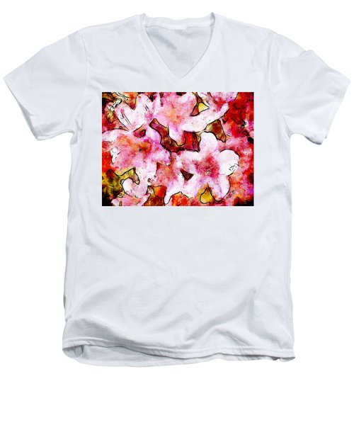 Men's V-Neck T-Shirt featuring the painting Pink Flowers 2 by Greg Collins