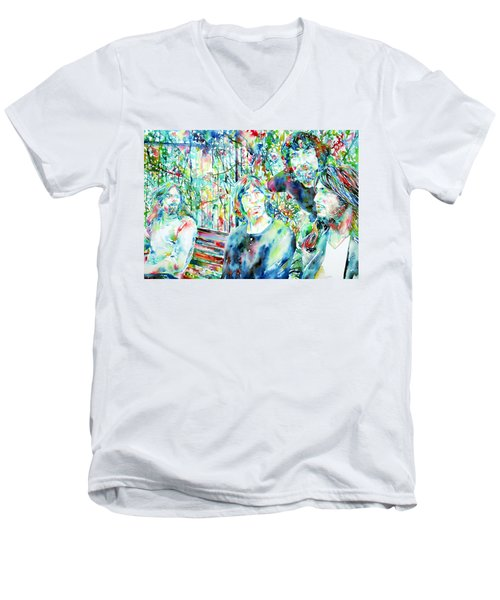 Pink Floyd At The Park Watercolor Portrait Men's V-Neck T-Shirt by Fabrizio Cassetta