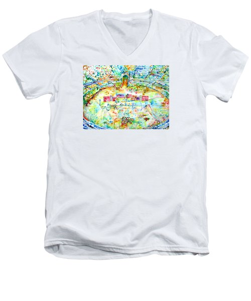 Pink Floyd Live At Pompeii Watercolor Painting Men's V-Neck T-Shirt