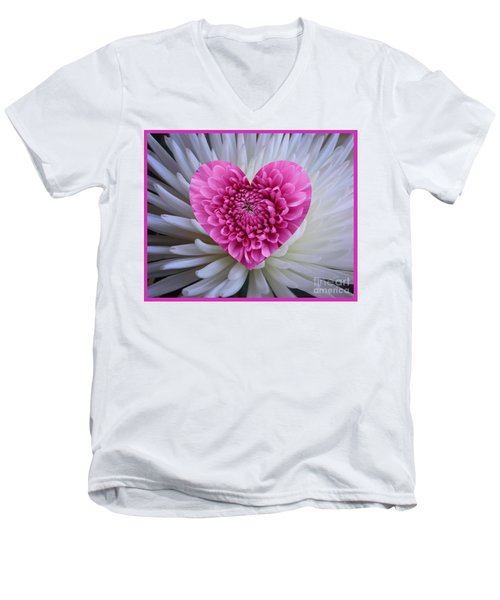Pink Heart On White Men's V-Neck T-Shirt
