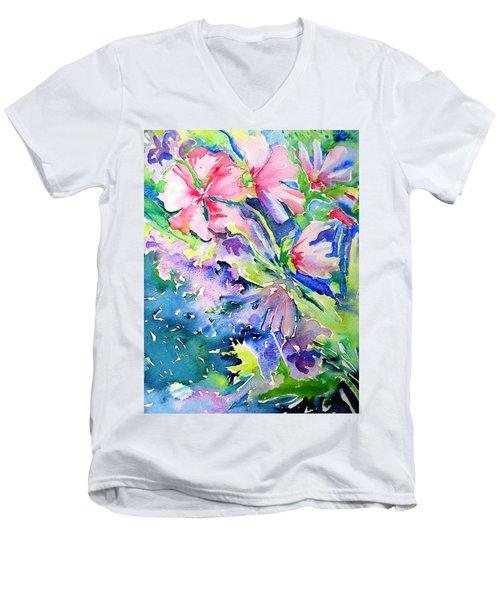 Pink Lavatera Profusion Men's V-Neck T-Shirt by Trudi Doyle