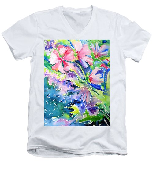Pink Lavatera Profusion Men's V-Neck T-Shirt