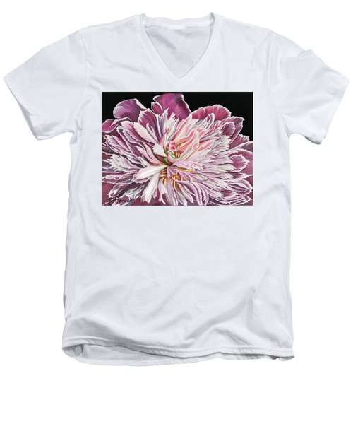 Pink Peony Men's V-Neck T-Shirt by Jane Girardot