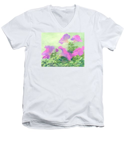 Pink Petunias Beautiful Flowers Art Colorful Original Garden Floral Flower Artist K. Joann Russell  Men's V-Neck T-Shirt by Elizabeth Sawyer
