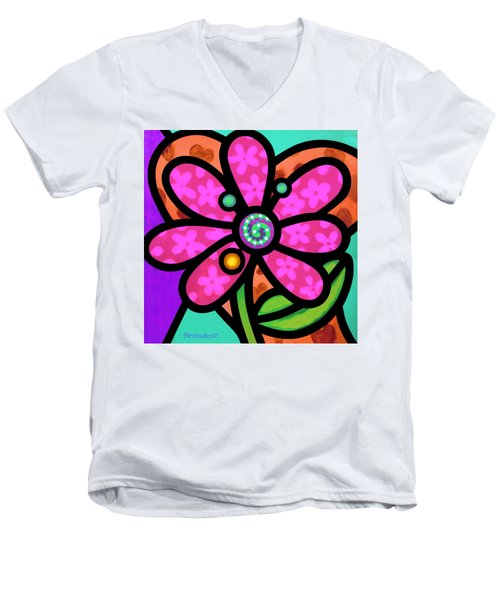 Pink Pinwheel Daisy Men's V-Neck T-Shirt