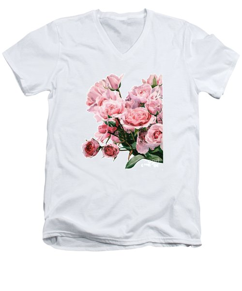 Pink Rose Bouquet Men's V-Neck T-Shirt by Greta Corens