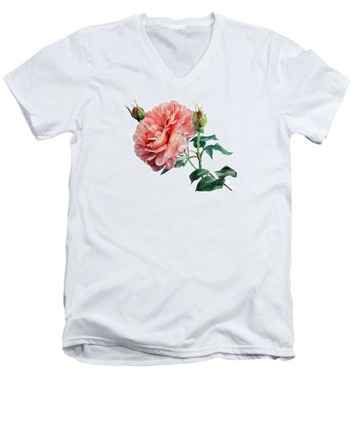 Pink Rose Odette  Men's V-Neck T-Shirt