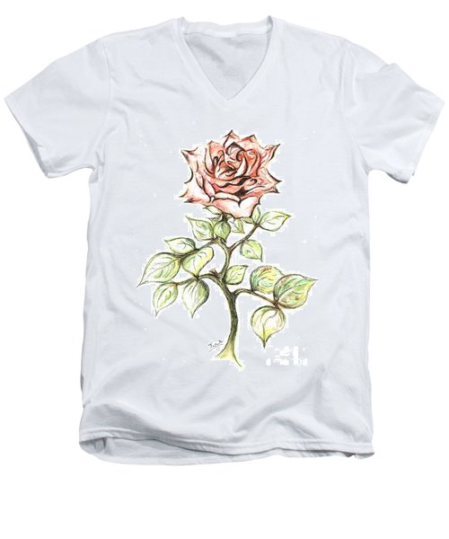 Pink Rose Men's V-Neck T-Shirt by Teresa White