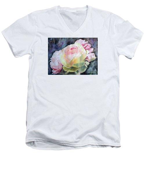 Pink Yellow Rose Angela Men's V-Neck T-Shirt by Greta Corens