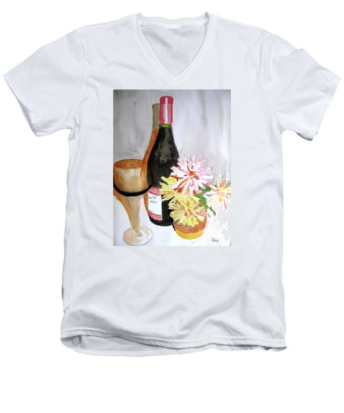Men's V-Neck T-Shirt featuring the painting Pinot Noir by Sandy McIntire