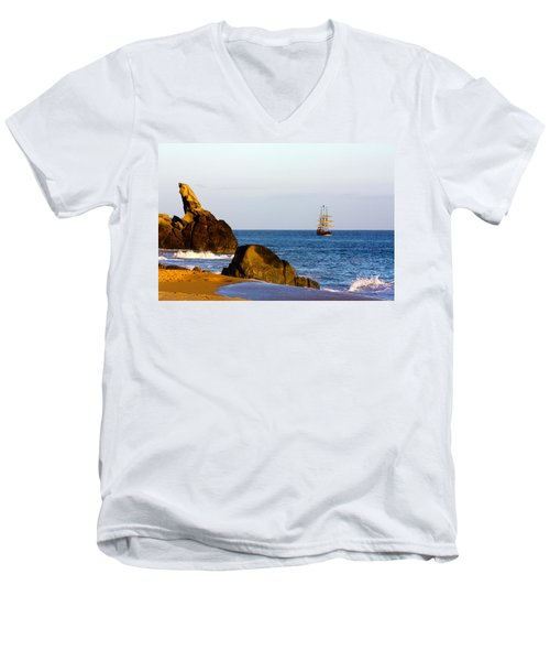 Pirate Ship In Cabo Men's V-Neck T-Shirt
