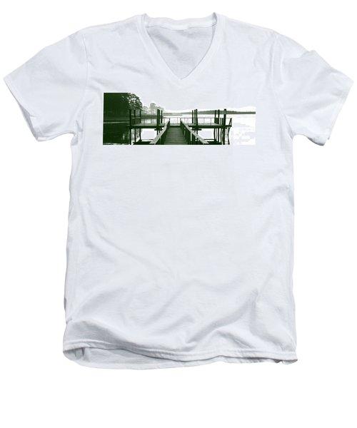 Pirate's Cove Pier In Monochrome Men's V-Neck T-Shirt