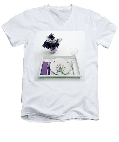 Place Setting With With Flowers Men's V-Neck T-Shirt
