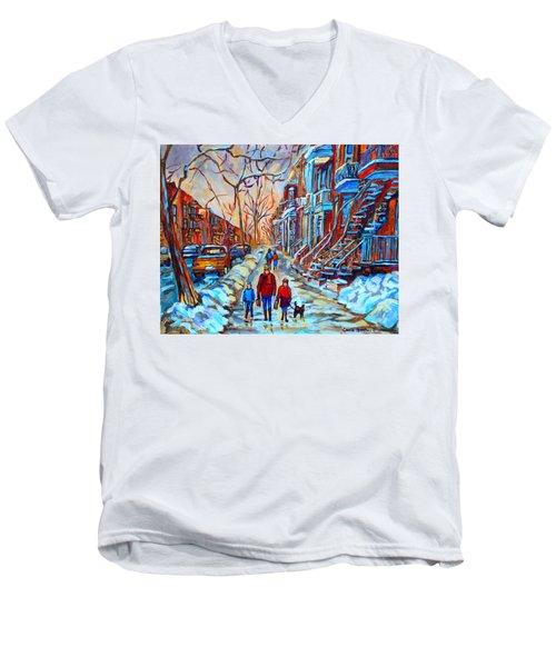 Plateau Montreal Street Scene Men's V-Neck T-Shirt