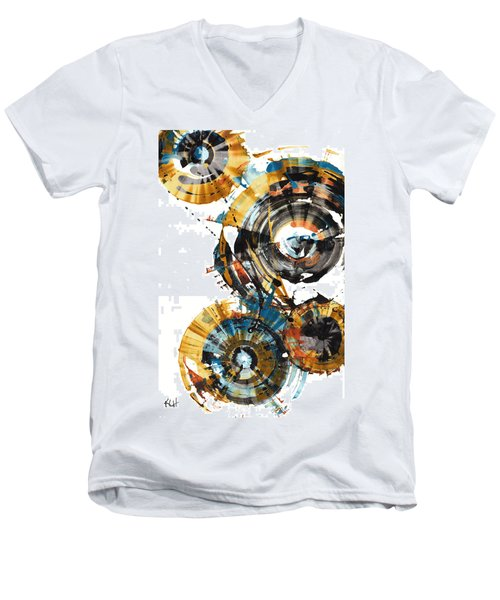 Men's V-Neck T-Shirt featuring the painting Playing In The Wind 1000.042312 by Kris Haas