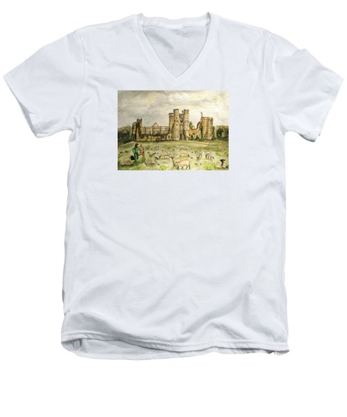 Plein Air Painting At Cowdray House Sussex Men's V-Neck T-Shirt by Angela Davies