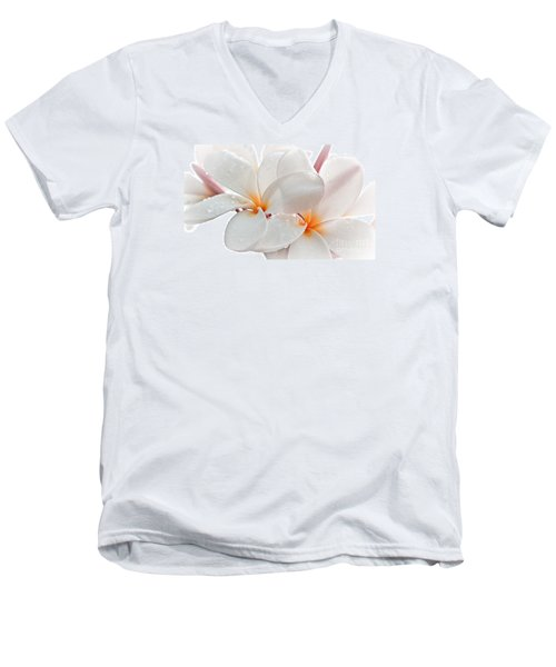 Men's V-Neck T-Shirt featuring the photograph Plumeria by Roselynne Broussard