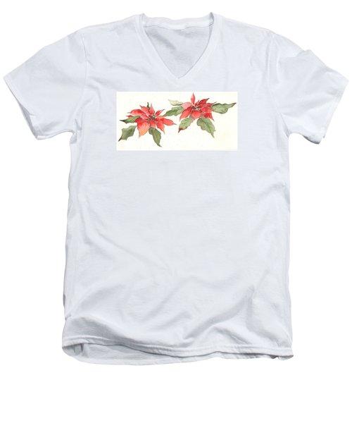 Poinsettias Men's V-Neck T-Shirt by Christine Lathrop