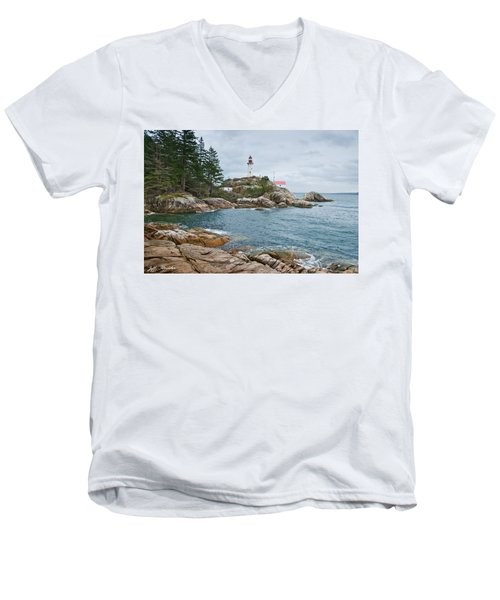Point Atkinson Lighthouse And Rocky Shore Men's V-Neck T-Shirt by Jeff Goulden