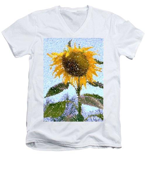 Pointillist Sunflower In Sun City Men's V-Neck T-Shirt by Barbie Corbett-Newmin