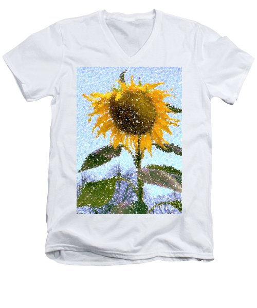 Pointillist Sunflower In Sun City Men's V-Neck T-Shirt