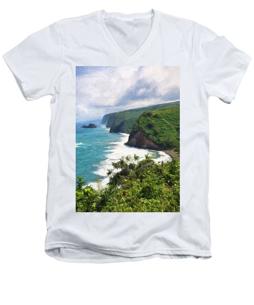 Pololu Valley Beach Men's V-Neck T-Shirt
