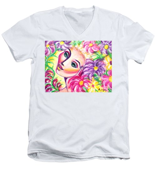 Pondering In A Garden Men's V-Neck T-Shirt