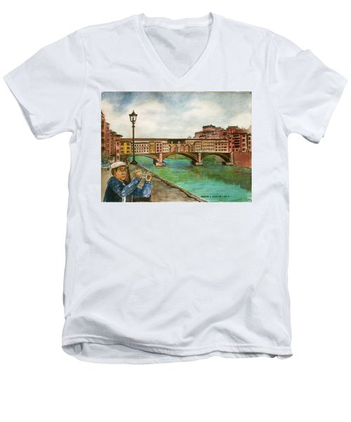 Ponte Vecchio Florence Italy Men's V-Neck T-Shirt by Frank Hunter
