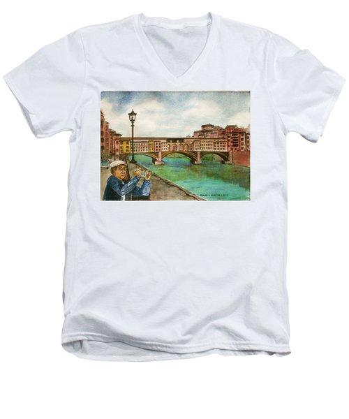 Ponte Vecchio Florence Italy Men's V-Neck T-Shirt