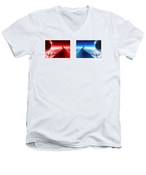 Men's V-Neck T-Shirt featuring the photograph Red Blue Jet Pop Art Planes  by R Muirhead Art