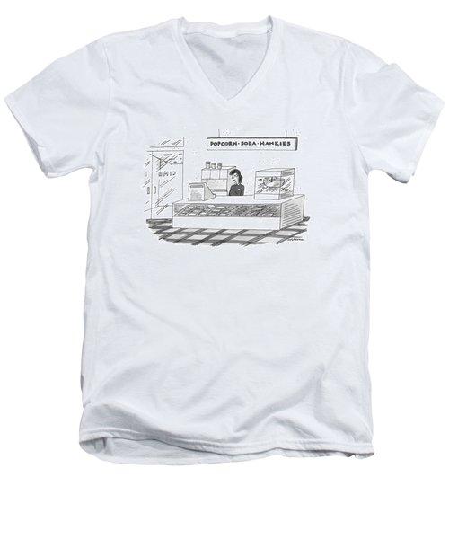'popcorn-soda-hankies' Men's V-Neck T-Shirt