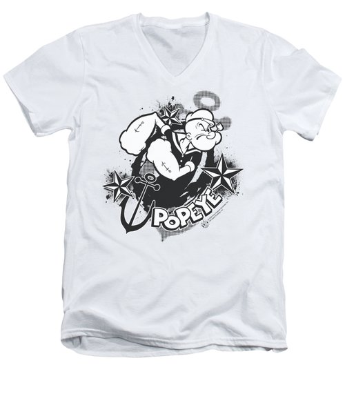 Popeye - Stars And Anchor Men's V-Neck T-Shirt by Brand A