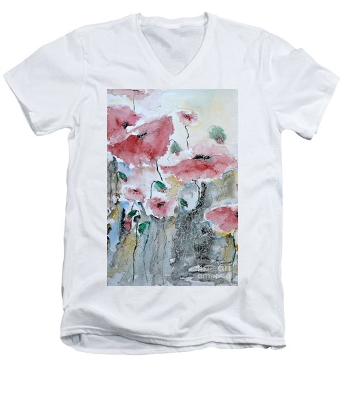 Men's V-Neck T-Shirt featuring the painting Poppies 01 by Ismeta Gruenwald