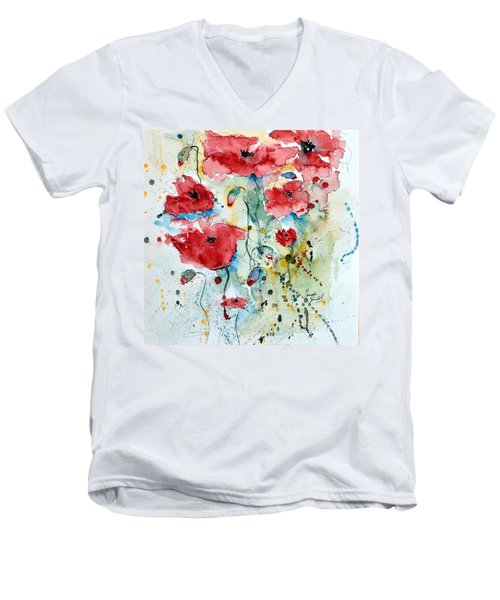 Men's V-Neck T-Shirt featuring the painting Poppies 04 by Ismeta Gruenwald