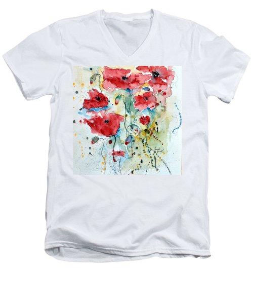 Poppies 04 Men's V-Neck T-Shirt