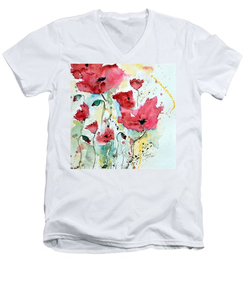 Men's V-Neck T-Shirt featuring the painting Poppies 05 by Ismeta Gruenwald