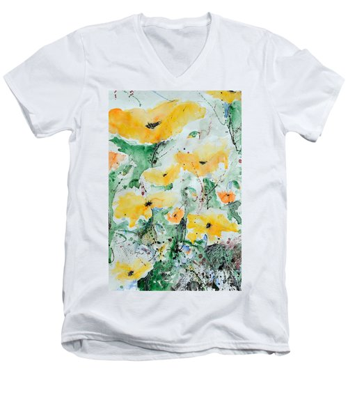 Men's V-Neck T-Shirt featuring the painting Poppies 07 by Ismeta Gruenwald