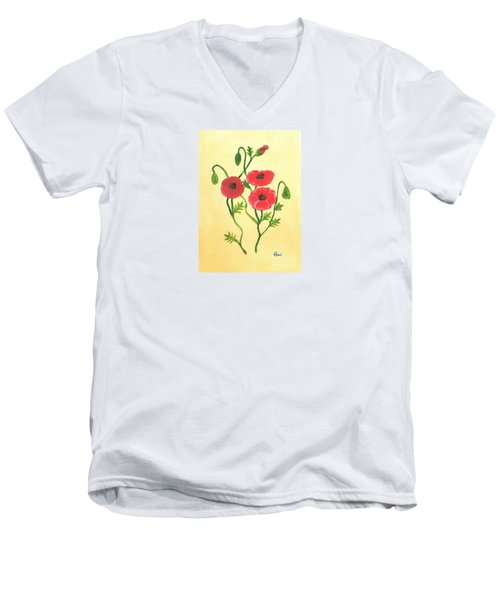 Men's V-Neck T-Shirt featuring the painting Poppies by Karen Jane Jones