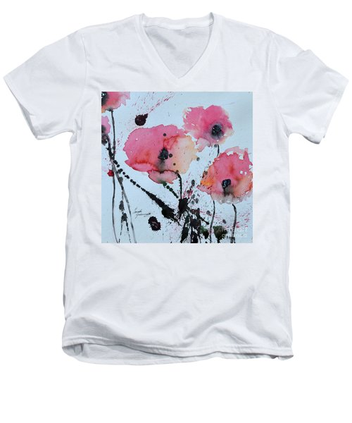 Men's V-Neck T-Shirt featuring the painting Poppies- Painting by Ismeta Gruenwald
