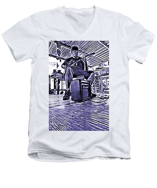 Porch Pickin Men's V-Neck T-Shirt by Bartz Johnson