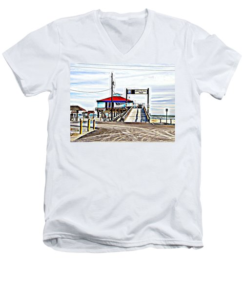 Men's V-Neck T-Shirt featuring the photograph Port Aransas Gulf Side by Antonia Citrino